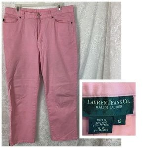 Lauren Jeans Co Pink Pants Zip Ankle Sz 12 Used